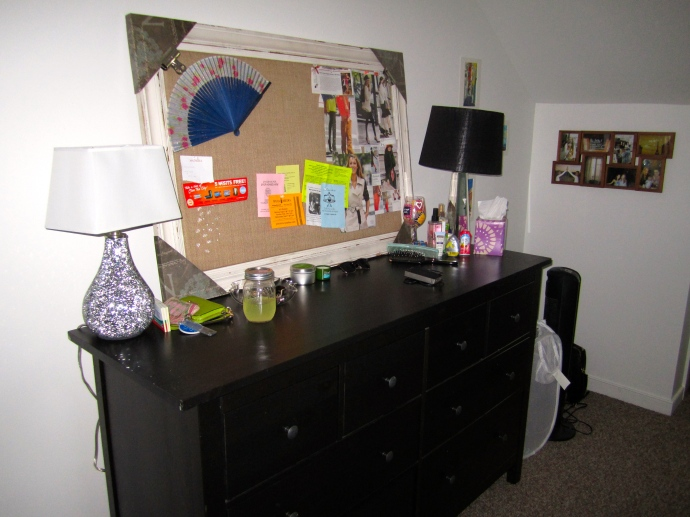 My larger dresser with a framed fabric pinboard. I plan to use this for style inspo as well as a reminder board.