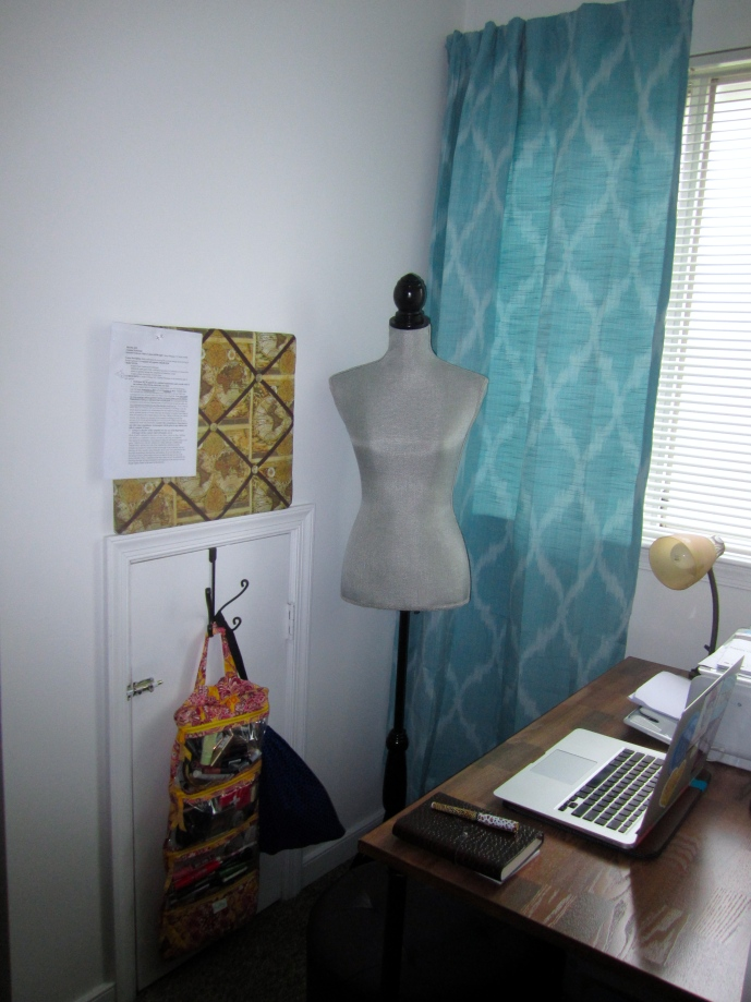 My nook! Includes desk area for homework and sewing, dress form, makeup bag (the window's natural sunlight is perfection), and crawlspace for storing ugly stuff.